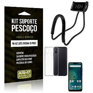 Kit Suporte Pescoço Xiaomi Mi A2 Lite Suporte + Capa + Película de Vidro - Armyshield