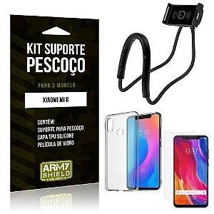 Kit Suporte Pescoço Xiaomi Mi 8 Suporte + Capa + Película de Vidro - Armyshield