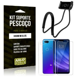 Kit Suporte Pescoço Xiaomi Mi 8 Lite Suporte + Capa + Película de Vidro - Armyshield