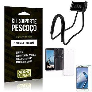 Kit Suporte Pescoço Asus Zenfone 4 Suporte + Capa + Película de Vidro - Armyshield