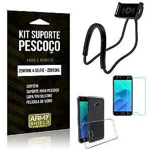 Kit Suporte Pescoço Asus Zenfone 4 Selfie Suporte + Capa + Película de Vidro - Armyshield