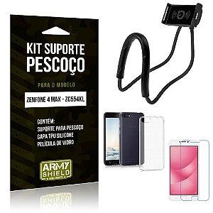Kit Suporte Pescoço Asus Zenfone 4 Max Suporte + Capa + Película de Vidro - Armyshield