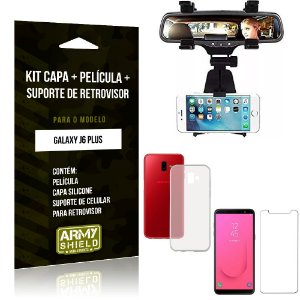 Kit Suporte Retrovisor Samsung Galaxy J6 Plus Suporte + Capa + Película de Vidro - Armyshield