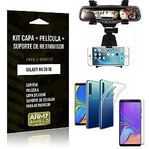 Kit Suporte Retrovisor Samsung Galaxy A9 2018 Suporte + Capa + Película de Vidro - Armyshield
