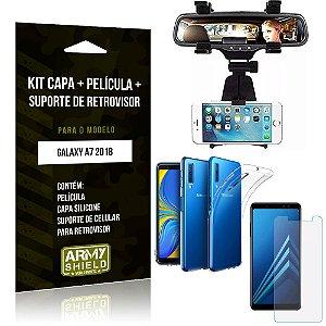 Kit Suporte Retrovisor Samsung Galaxy A7 2018 Suporte + Capa + Película de Vidro - Armyshield