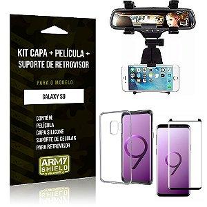 Kit Suporte Retrovisor Samsung Galaxy S9 Suporte + Capa + Película de Vidro - Armyshield