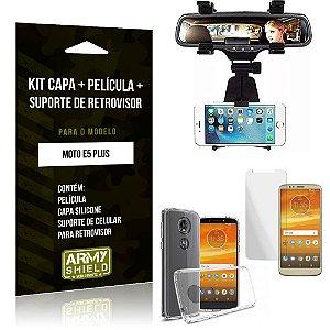 Kit Suporte Retrovisor Motorola Moto E5 Plus Suporte + Capa + Película de Vidro - Armyshield