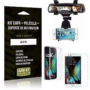 Kit Suporte Retrovisor LG  K10 Suporte + Capa + Película de Vidro - Armyshield