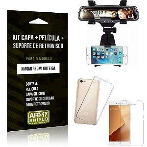 Kit Suporte Retrovisor Xiaomi Redmi Note 5A Suporte + Capa + Película de Vidro - Armyshield
