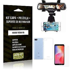 Kit Suporte Retrovisor Xiaomi Redmi 6A Suporte + Capa + Película de Vidro - Armyshield