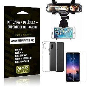 Kit Suporte Retrovisor Xiaomi Redmi Note 6 Pro Suporte + Capa + Película de Vidro - Armyshield