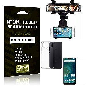 Kit Suporte Retrovisor Xiaomi Mi A2 Lite Suporte + Capa + Película de Vidro - Armyshield