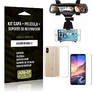 Kit Suporte Retrovisor Xiaomi Mi Max 3 Suporte + Capa + Película de Vidro - Armyshield