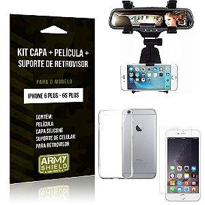 Kit Suporte Retrovisor Apple iPhone 6 Plus/6S Plus Suporte + Capa + Película de Vidro - Armyshield