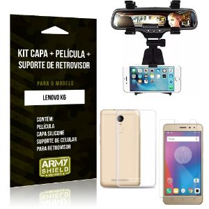 Kit Suporte Retrovisor Lenovo  K6 Suporte + Capa + Película de Vidro - Armyshield