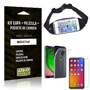 Kit Pochete Motorola Moto G7 Play Pochete + Capa + Película de Vidro - Armyshield