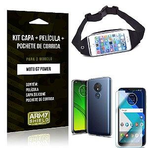 Kit Pochete Motorola Moto G7 Power Pochete + Capa + Película de Vidro - Armyshield