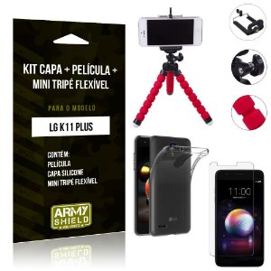 Kit Mini Tripé Flexível LG K11 Plus Tripé + Capa + Película de Vidro - Armyshield
