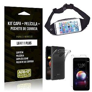 Kit Pochete LG K11 Plus Pochete + Capa + Película de Vidro - Armyshield