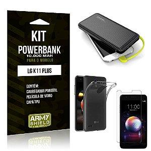 Kit Carregador Portátil 10K LG K11 Plus Powerbank + Capa + Película de Vidro - Armyshield