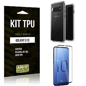 Kit Capa Silicone Galaxy S10 Capa de Silicone + Película de Gel - Armyshield