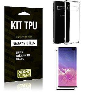 Kit Capa Silicone Galaxy S10 Plus Capa de Silicone + Película de Gel - Armyshield