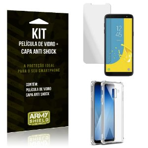 Kit Capa Anti Shock Samsung Galaxy J6 2018 Capa Anti Shock + Película de Vidro - Armyshield