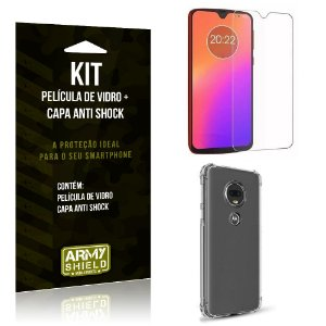 Kit Capa Anti Shock Motorola Moto G7 Capa Anti Shock + Película de Vidro - Armyshield