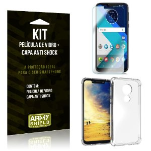 Kit Capa Anti Shock Motorola Moto G7 Power Capa Anti Shock + Película de Vidro - Armyshield