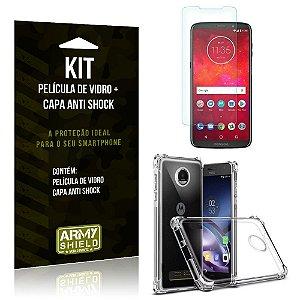 Kit Capa Anti Shock Motorola Moto Z3 Play Capa Anti Shock + Película de Vidro - Armyshield