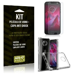 Kit Capa Anti Shock Motorola Moto X4 Capa Anti Shock + Película de Vidro - Armyshield