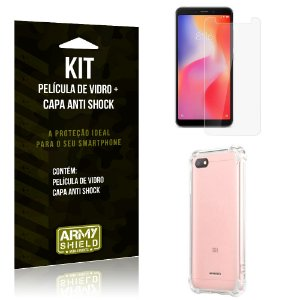 Kit Capa Anti Shock Xiaomi Redmi 6A Capa Anti Shock + Película de Vidro - Armyshield