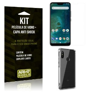 Kit Capa Anti Shock Xiaomi Mi A2 Lite Capa Anti Shock + Película de Vidro - Armyshield