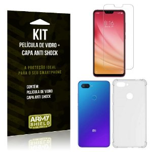 Kit Capa Anti Shock Xiaomi Mi 8 Lite Capa Anti Shock + Película de Vidro - Armyshield