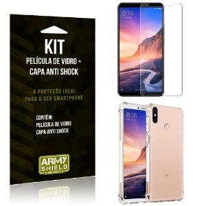 Kit Capa Anti Shock Xiaomi Mi Max 3 Capa Anti Shock + Película de Vidro - Armyshield