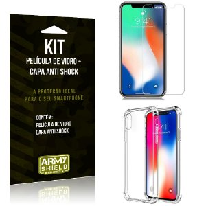 Kit Capa Anti Shock Apple iPhone XS Capa Anti Shock + Película de Vidro - Armyshield