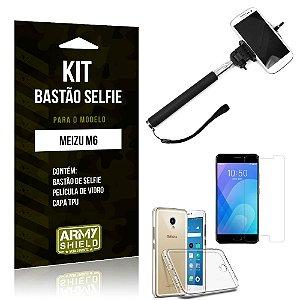 Kit Bastão de Selfie Meizu M6 Bastão + Capa + Película de Vidro - Armyshield