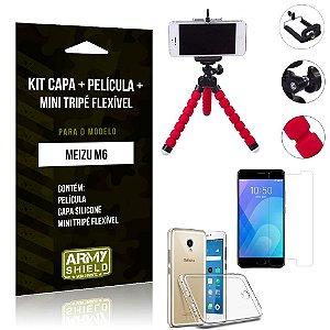 Kit Mini Tripé Flexível Meizu M6 Tripé + Capa + Película de Vidro - Armyshield