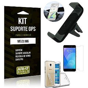 Kit Suporte Veicular Meizu M6 Suporte + Capa + Película de Vidro - Armyshield