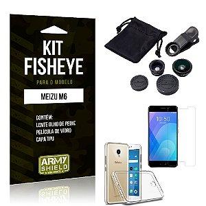 Kit Fisheye Meizu M6 Lente Fisheye + Capa + Película de Vidro - Armyshield