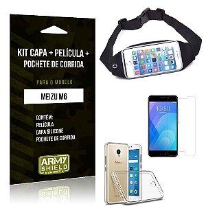 Kit Pochete Meizu M6 Pochete + Capa + Película de Vidro - Armyshield