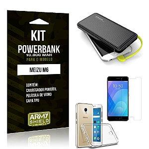 Kit Carregador Portátil 10K Meizu M6 Powerbank + Capa + Película de Vidro - Armyshield