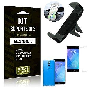Kit Suporte Veicular Meizu M6 Note Suporte + Capa + Película de Vidro - Armyshield