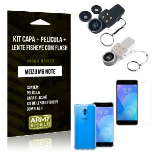 Kit Fisheye com Flash Meizu M6 Note Fisheye Flash + Capa + Película de Vidro - Armyshield