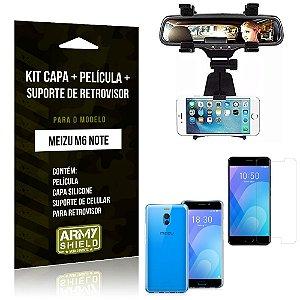 Kit Suporte Retrovisor Meizu M6 Note Suporte + Capa + Película de Vidro - Armyshield