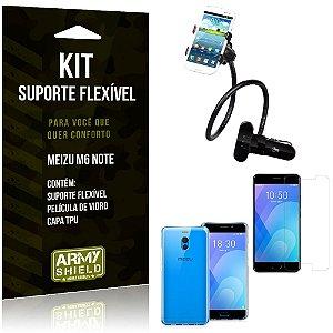 Kit Suporte Flexível Meizu M6 Note Suporte + Capa + Película de Vidro - Armyshield
