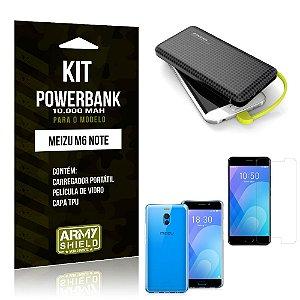 Kit Carregador Portátil 10K Meizu M6 Note Powerbank + Capa + Película de Vidro - Armyshield