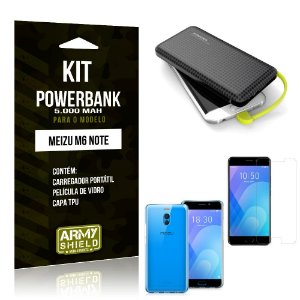 Kit Carregador Portátil 5K Meizu M6 Note Powerbank + Capa + Película de Vidro - Armyshield