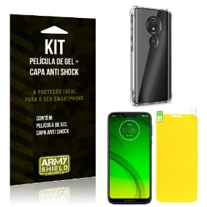 Kit Motorola Moto G7 Power Capa Anti Shock + Película de Gel - Armyshield