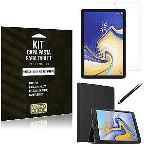 Kit Galaxy Tab S4 10.5 T835/T830 Capa Pasta + Película de Vidro + Caneta Touch - Armyshield